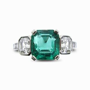 Emerald & Diamond Three Stone Ring - 1.50ct